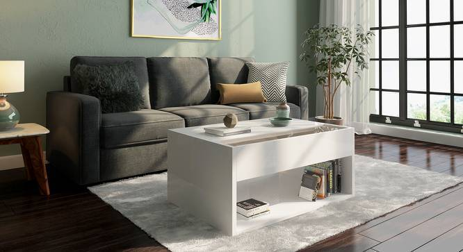 Alita Laptop Coffee Table (White High Gloss Finish, Yes) by Urban Ladder