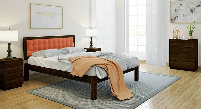Florence Bed (Mahogany Finish, Queen Bed Size, Lava, Yes) by Urban Ladder