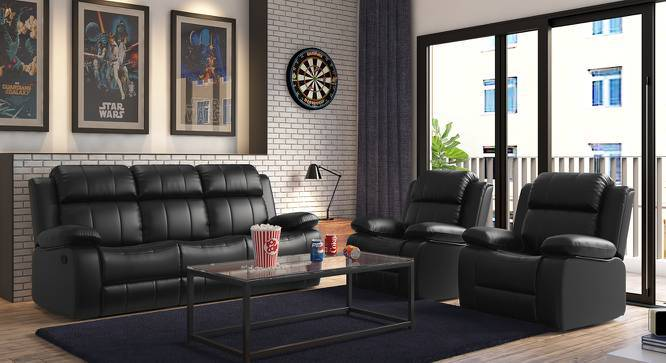 Robert Three Seater Recliner Sofa (Black Leatherette, Yes) by Urban Ladder