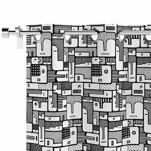 Doodle Man Door Curtain - Set Of 2 (Black and White Pattern) by Urban Ladder