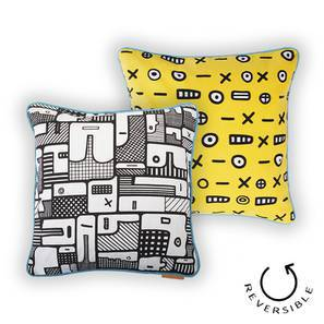 "Doodle Man Cushion Cover - Set Of 2 (16"" X 16"" Cushion Size, Black and White Pattern) by Urban Ladder"