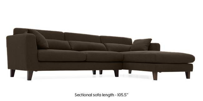Lewis Sectional Sofa (Dark Brown) (Dark Brown, Fabric Sofa Material, Regular Sofa Size, Sectional Sofa Type)