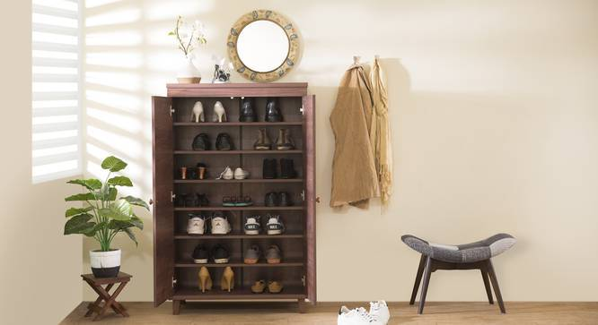 Zanotti Shoe Cabinet (Walnut Finish, 24 Pair Capacity) by Urban Ladder