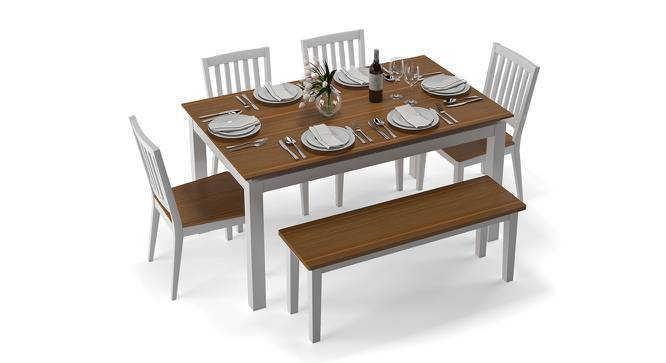 Diner 6 Seater Dining Table Set (With Bench) (Golden Oak Finish) by Urban Ladder