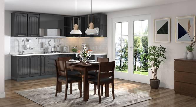 Diner - Cabalo (Leatherette) 4 Seater Dining Table Set (Black, Dark Walnut Finish) by Urban Ladder
