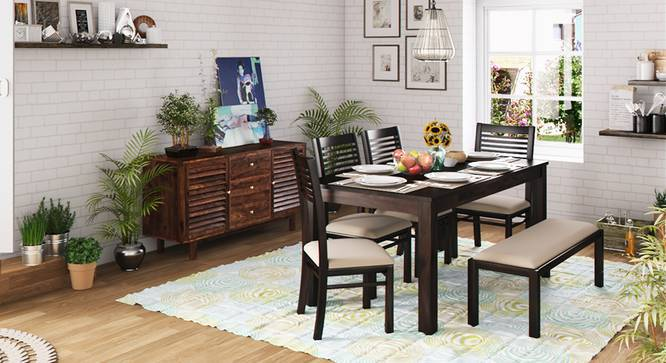 Arabia XL Storage - Zella 6 Seater Dining Table Set (With Upholstered Bench) (Mahogany Finish, Wheat Brown) by Urban Ladder
