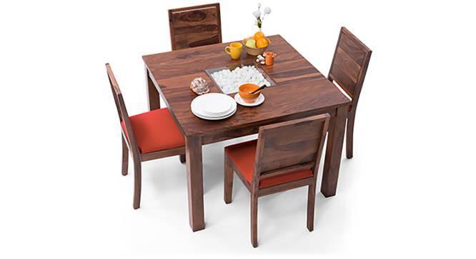 Brighton Square - Oribi 4 Seater Dining Table Set (Teak Finish, Burnt Orange) by Urban Ladder