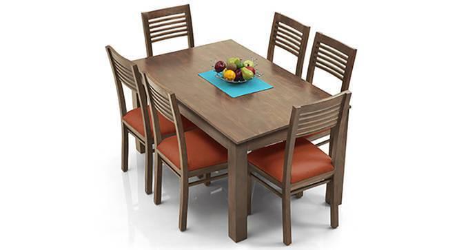 Arabia - Zella 6 Seater Dining Table Set (Teak Finish, Burnt Orange) by Urban Ladder