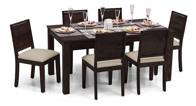 Brighton Large - Oribi 6 Seater Dining Table Set (Mahogany Finish, Wheat Brown) by Urban Ladder