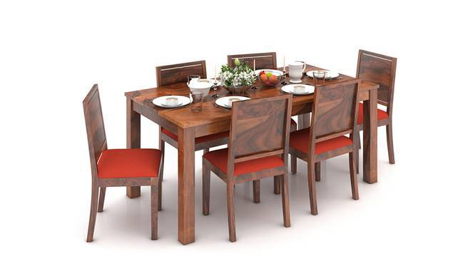 Arabia XL Storage - Oribi 6 Seater Dining Table Set (Teak Finish, Burnt Orange) by Urban Ladder