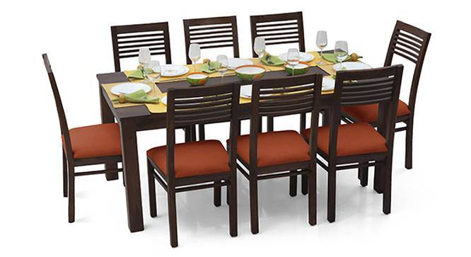 Arabia XL - Zella 8 Seater Dining Set (Mahogany Finish, Burnt Orange) by Urban Ladder
