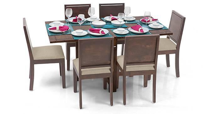Danton 3-to-6 - Oribi 6 Seater Folding Dining Table Set (Teak Finish, Wheat Brown) by Urban Ladder