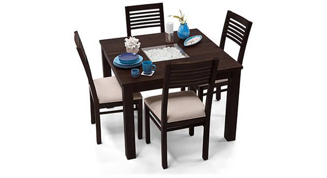 Brighton Square - Zella 4 Seater Dining Table Set (Mahogany Finish, Wheat Brown) by Urban Ladder