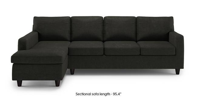 Walton Compact Sectional Sofa (Charcoal Grey) (None Custom Set - Sofas, Left Aligned 3 seater + Chaise Standard Set - Sofas, Charcoal Grey, Fabric Sofa Material, Regular Sofa Size, Sectional Sofa Type)