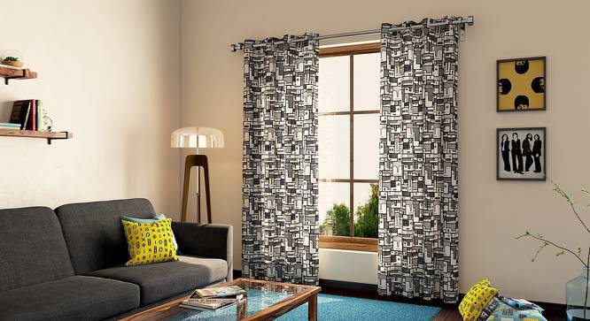 """Doodle Man Door Curtain - Set Of 2 (Black and White Pattern, 54""""x84"""" Curtain Size) by Urban Ladder"""