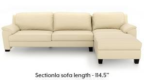 Farina Half Leather Sectional Sofa (Cream Italian Leather)