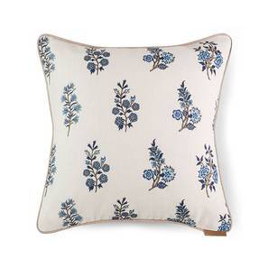 "Calico Cushion Cover - Set Of 2 (16"" X 16"" Cushion Size, Indigo Leaves & Blossoms Pattern) by Urban Ladder"