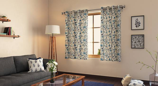 """Calico Curtains - Set of 2 (54"""" x 60"""" Curtain Size, Indigo - Floral Retreat  Pattern) by Urban Ladder"""