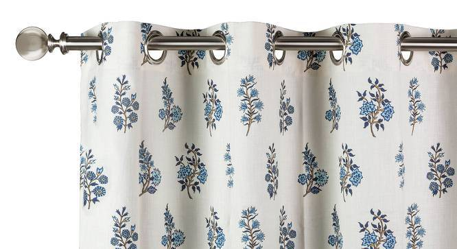 """Calico Curtains - Set of 2 (54"""" x 108"""" Curtain Size, Indigo - Leaves & Blossoms Pattern) by Urban Ladder"""