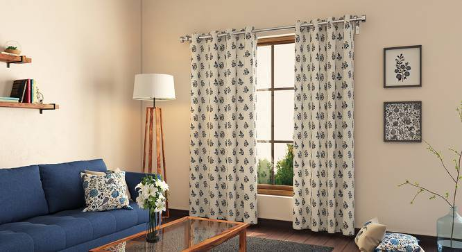 """Calico Curtains - Set of 2 (54""""x84"""" Curtain Size, Indigo - Leaves & Blossoms Pattern) by Urban Ladder"""