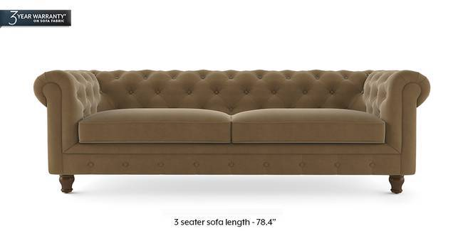 Winchester Fabric Sofa (Tuscan Tan Velvet) (1-seater Custom Set - Sofas, None Standard Set - Sofas, Fabric Sofa Material, Regular Sofa Size, Regular Sofa Type, Tuscan Tan Velvet)