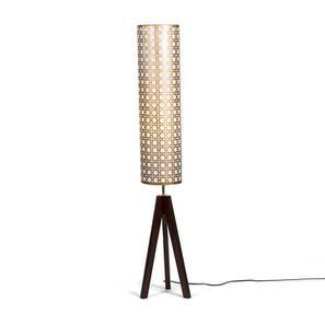 Toliara Floor Lamp (Gold Shade Colour, Light Walnut Base Finish) by Urban Ladder