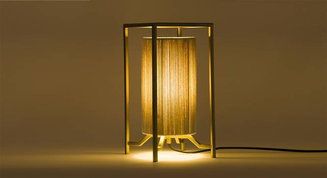 Tunis Table Lamp (Gold Finish, Off White Shade Colour) by Urban Ladder
