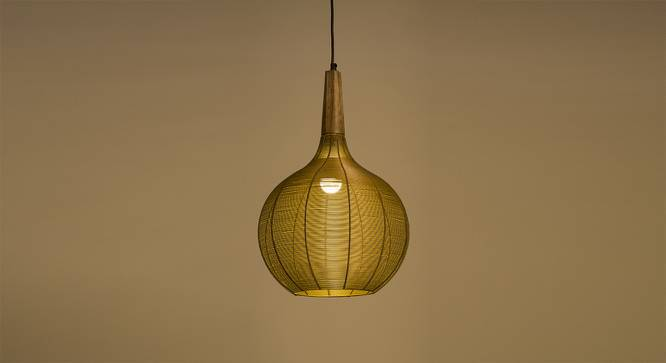 Canberra Hanging Lamp (Natural Finish, Gold Shade Finish) by Urban Ladder