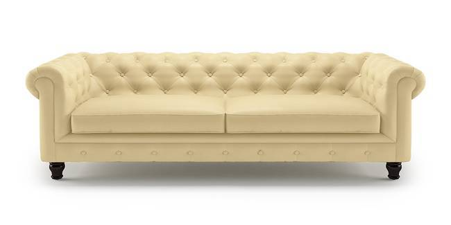Winchester Half Leather Sofa (Cream Italian Leather) (Cream, 1 Seater Custom