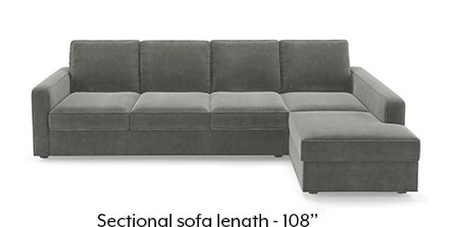 Apollo Sofa Set (Fabric Sofa Material, Compact Sofa Size, Soft Cushion Type, Sectional Sofa Type, Sectional Master Sofa Component, Ash Grey Velvet)