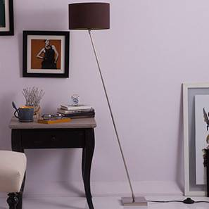 Sway Adjustable Floor Lamp (Shiny Nickel Base Finish, Cylindrical Shade Shape, Brown Shade Color) by Urban Ladder