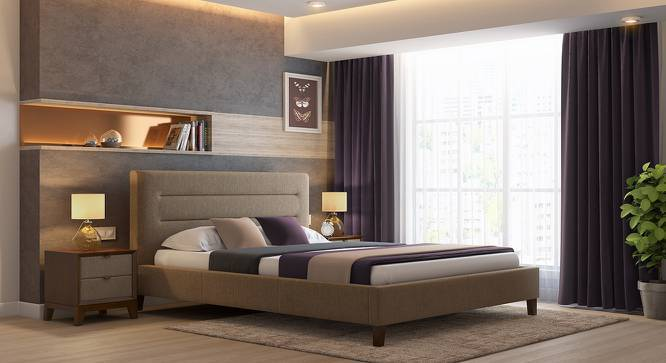 Gemellus Upholstered Bed (Queen Bed Size, Mist Brown) by Urban Ladder