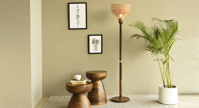 Tirana Floor Lamp (Light Walnut Base Finish) by Urban Ladder