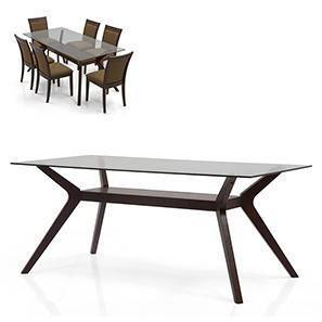 Wesley 6 Seater Glass Top Dining Table (Dark Walnut Finish)