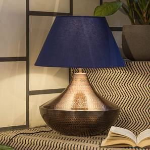 Helwan Table Lamp (Copper Base Finish, Royal Blue Shade Colour) by Urban Ladder