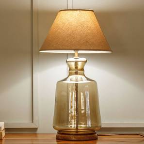 Garissa Table Lamp (Dark Tint Base Finish, Beige Shade Colour) by Urban Ladder
