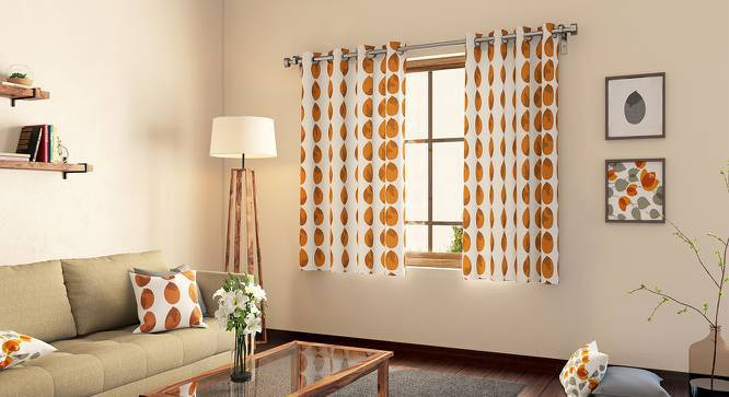 "Amoga Curtains - Set Of 2 (Window Curtain Type, Amoga Ochre - Sunburst, 54"" x 60"" Curtain Size) by Urban Ladder"