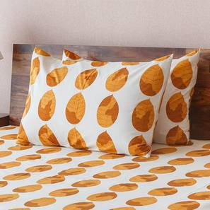 Amoga Bedsheet Set (Queen Size, Amoga Ochre - Sunburst) by Urban Ladder