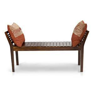 Latt Bench (Teak Finish, Without Upholstery Configuration) by Urban Ladder
