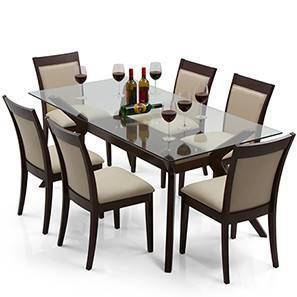 Wesley   Dalla 6 Seater Dining Table Set (Dark Walnut Finish, Latte) By