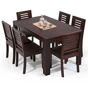 Arabia   Capra 6 Seater Dining Table Set (Mahogany Finish) By Urban Ladder