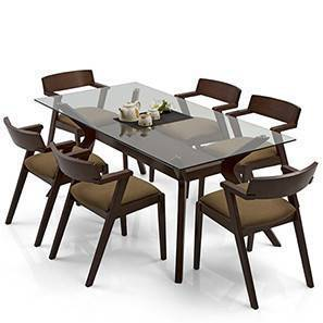Wesley - Thomson 6 Seater Dining Table Set (Cappuccino, Dark Walnut Finish)