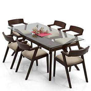 Wesley - Thomson 6 Seater Dining Table Set (Dark Walnut Finish, Latte)