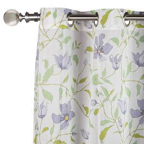 "Wilderness Curtain - Set Of 2 (54""x84"" Curtain Size, Purple Clematis Pattern) by Urban Ladder"