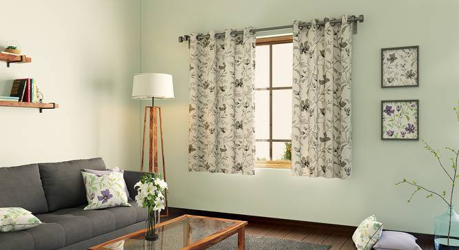 """Wilderness Curtain - Set Of 2 (Window Curtain Type, 54"""" x 60"""" Curtain Size, Grey Clematis) by Urban Ladder"""