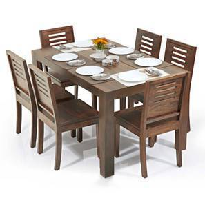 Arabia - Capra 6 Seater Dining Table Set (Teak Finish)