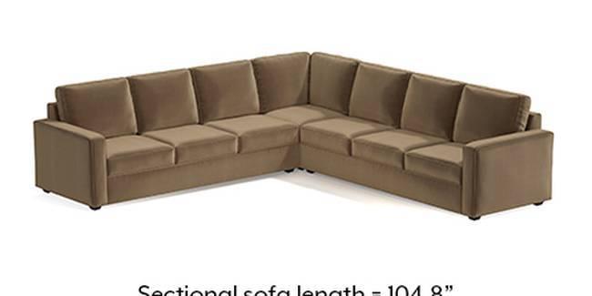 Apollo Sofa Set (Fabric Sofa Material, Compact Sofa Size, Soft Cushion Type, Corner Sofa Type, Corner Master Sofa Component, Tuscan Tan Velvet)