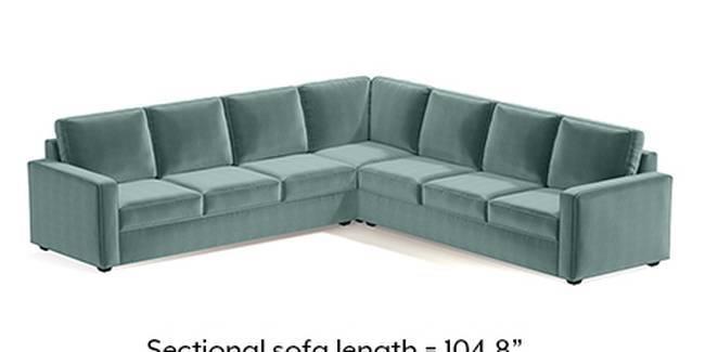 Apollo Sofa Set (Fabric Sofa Material, Compact Sofa Size, Soft Cushion Type, Corner Sofa Type, Corner Master Sofa Component, Dusty Turquoise Velvet)