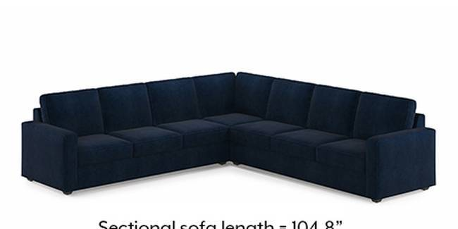 Apollo Sofa Set (Fabric Sofa Material, Compact Sofa Size, Soft Cushion Type, Corner Sofa Type, Corner Master Sofa Component, Sea Port Blue Velvet)