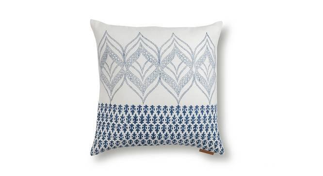 "Basra Cushion Cover - Set Of 2 (Blue, 16"" X 16"" Cushion Size, Contour Pattern) by Urban Ladder"